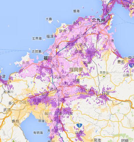 福岡県wimax2+エリア2014-2015