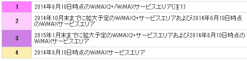 WiMAX2+エリア2015年予定